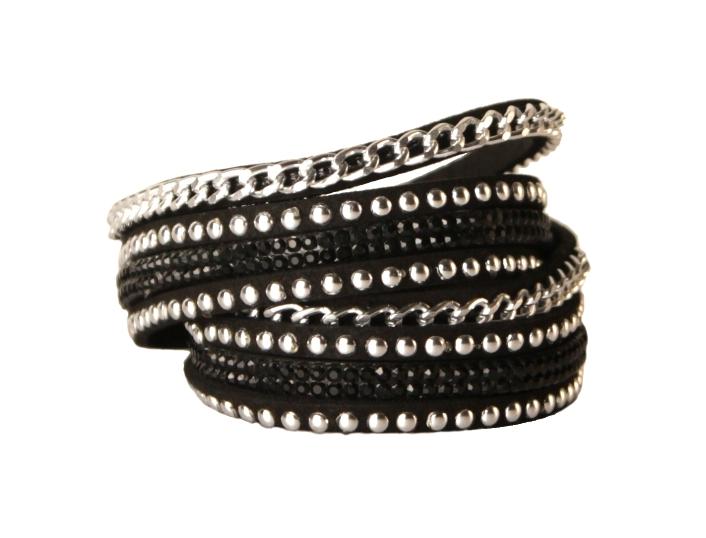 Armband - Svart med strass och kedja