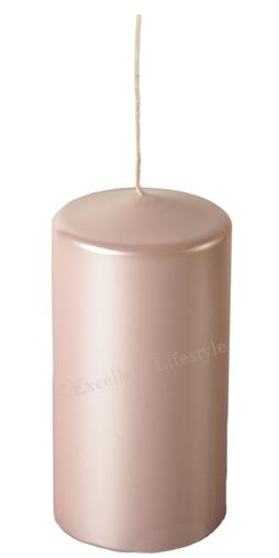 Blockljus - Babyrosa Pärlemor - Ø7,5x15cm