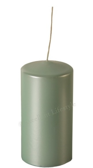 Blockljus - Mint Pärlemor - Ø7,5x15cm