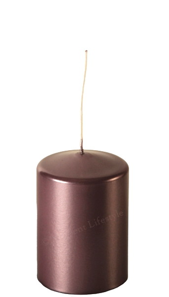 Blockljus - Rosabrun Metallic - Ø7,5x11cm
