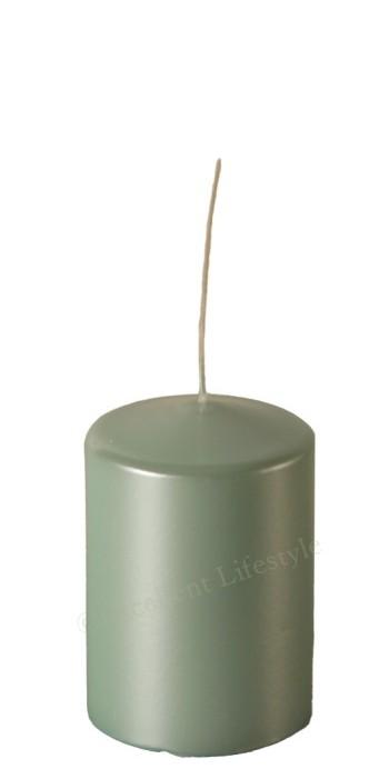 Blockljus - Mint Pärlemor - Ø7,5x11cm