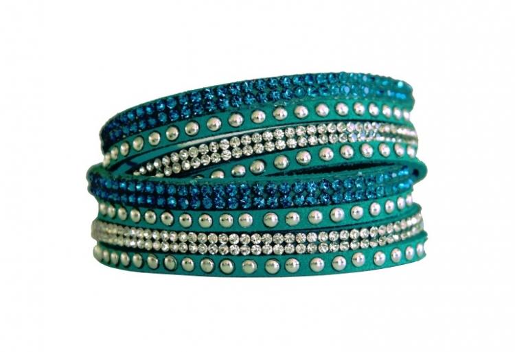 Armband - Turkos med strass och stenar