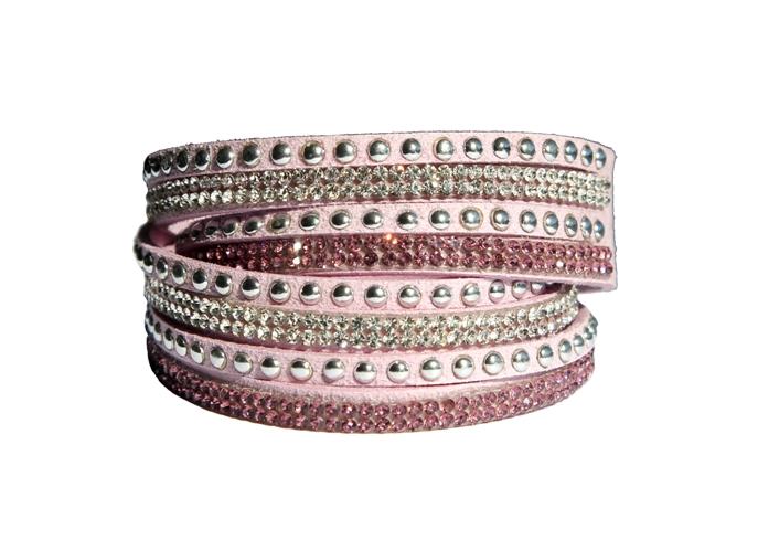 Armband - Rosa/Ljuslila med strass och stenar