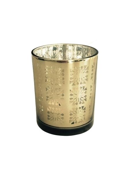 Ljuslykta i champagnefärgat mönstrat glas