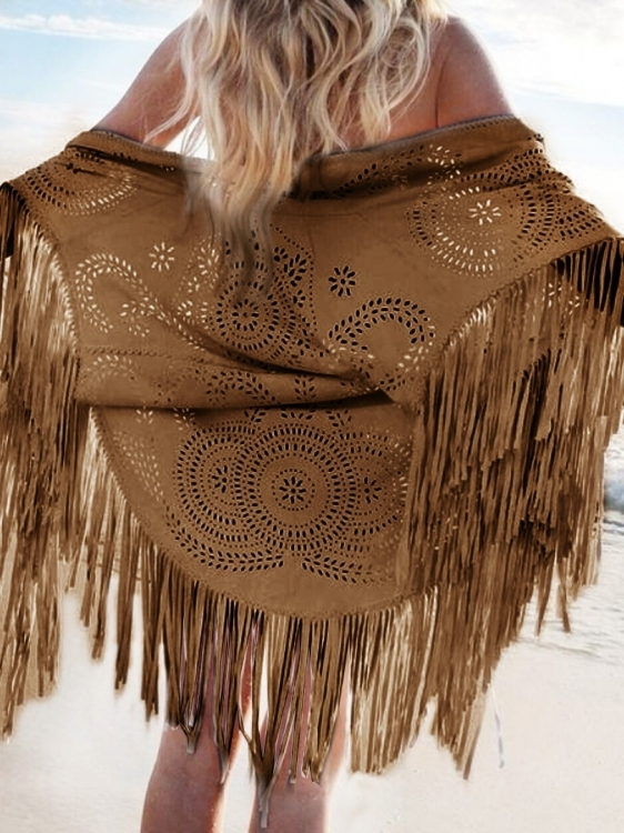 Brun poncho med fransar i Indian American Native style