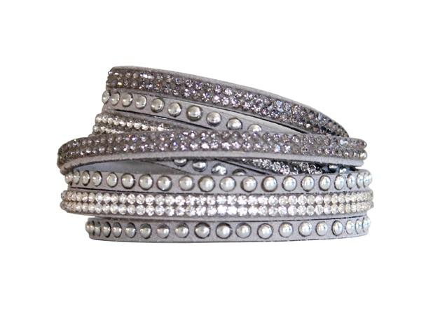 Armband - Ljusgrå med strass och stenar