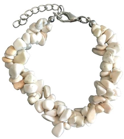 Armband med stenar - Vit/Sand