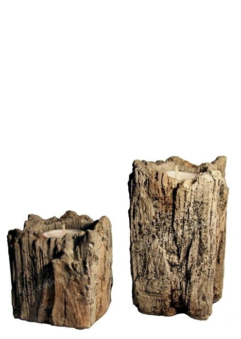 2 st ljushållare i betong med trämönster - liten och stor