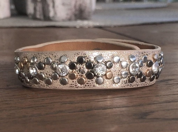 Armband - Strass och metall - Champagne