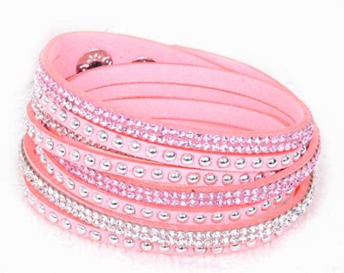 Armband - Rosa med strass och stenar