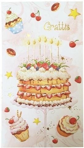 tårta grattis Grattis!   Stort kort med tårta   Excellent Lifestyle tårta grattis