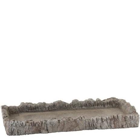 Bricka/ljusfat i betong med trämönster