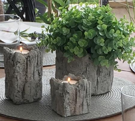 Ljushållare i betong med trämönster (Small)