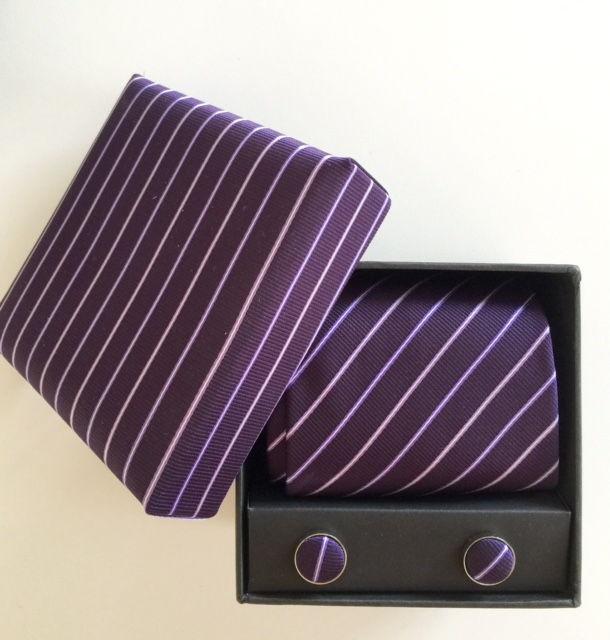 Box med slips set - lila randig