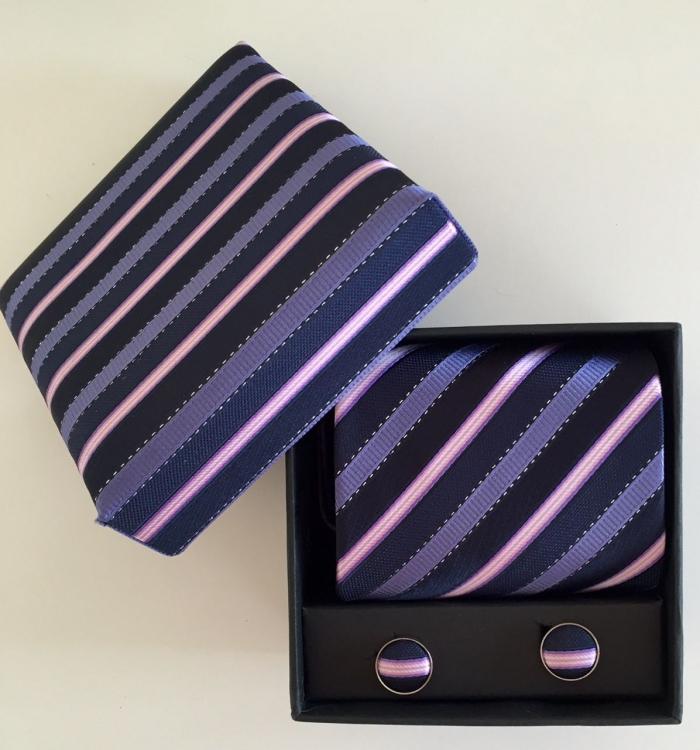 Box med slips set - lila/rosa/randig