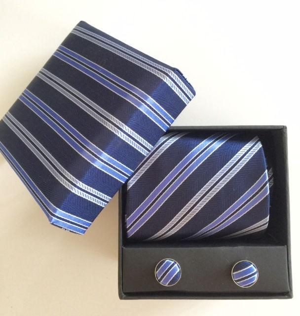 Box med slips set - blå randig