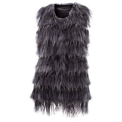 Ashley Vest, Raccoon Tibet Rabbit Fur Asphalt