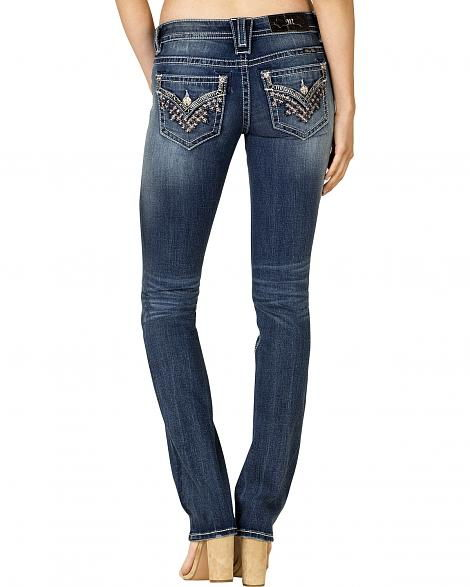 Miss Me - Rosie Faux Flap Pocket Straight Leg Jeans