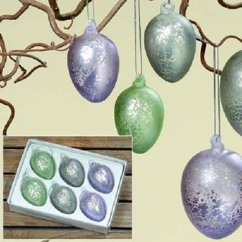 Dekorationsägg i lackerat glas. Set med 6 st ägg