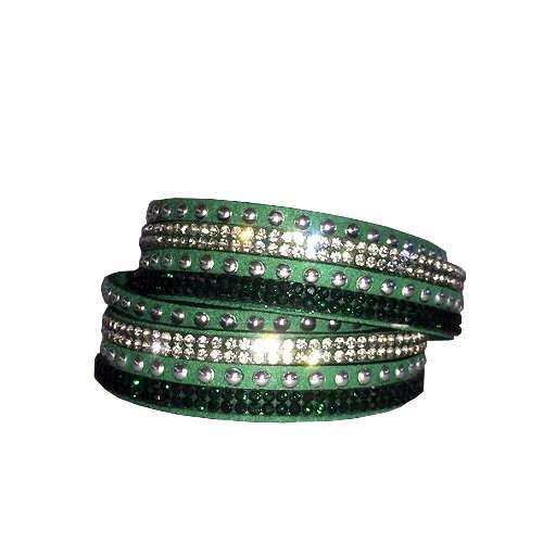 Armband - Grönt med strass och stenar
