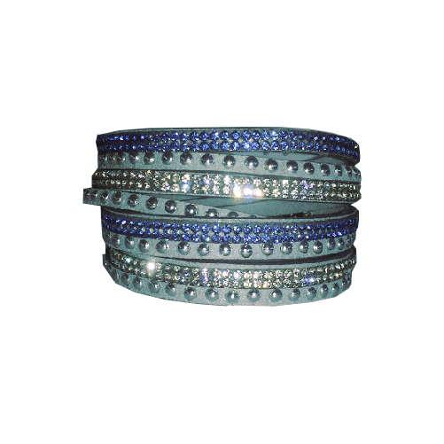 Armband - Ljusblå med strass och stenar
