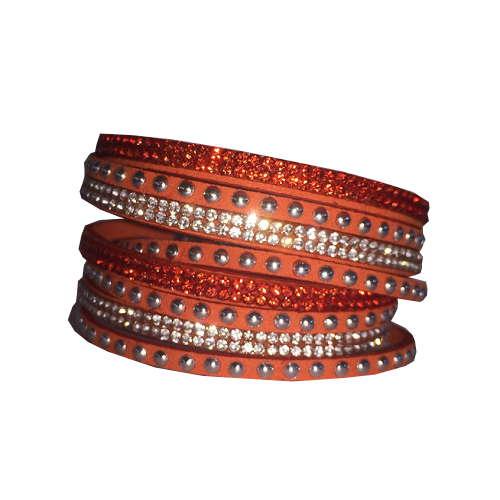 Armband - Orange med strass och stenar