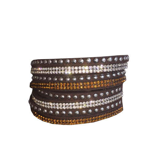 Armband - Mörkbrunt med strass och stenar