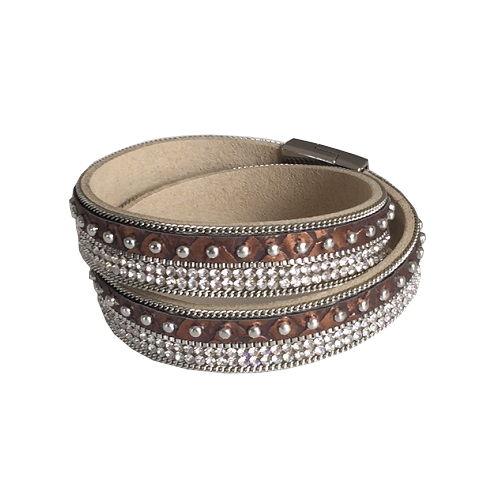 Armband med metallspänne kopparbrunt