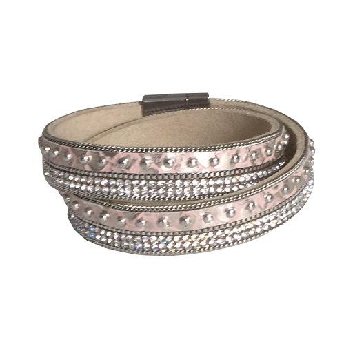Armband med metallspänne rosasilver