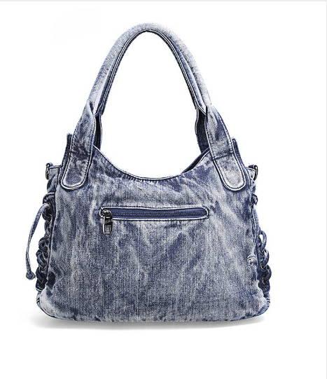 Denim väska i svart eller blått med två fickor