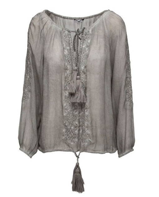 Frontrow - Gael blouse, 100% Viscose crepe silver grey