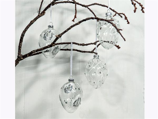 genomskinliga glaspåskägg med mönster