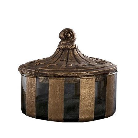 Låg glasburk med lock - antik stil