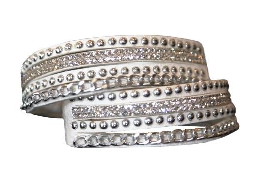Armband - Vit med strass och silverfärgade detaljer
