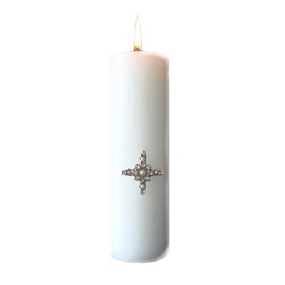 Ljussmycke kors med glasstenar