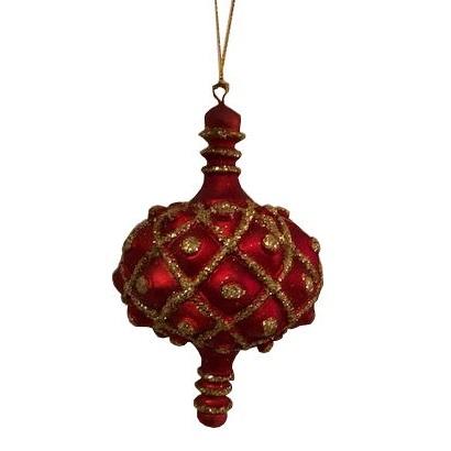 julgranskula med spira röd och guld i gammal stil