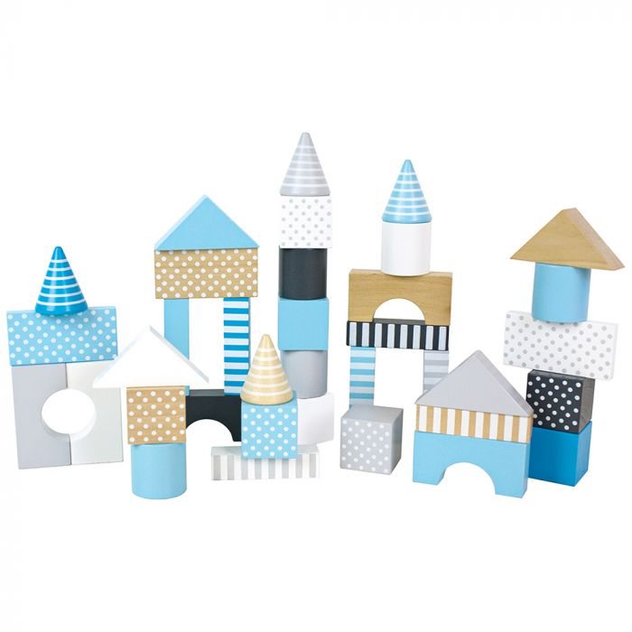 Byggset med hela 50 klossar i härliga färger & 7 olika former från Jabadabado.  Stapla höga torn, bygg slott eller precis vad du vill. Med dessa klossar  kan ditt barn roa sig länge. En födelsedagspre