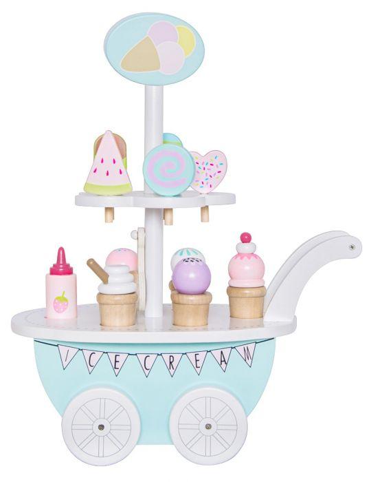 Barnens lek blir inte sötare än så här! Denna bedårande glassvagn från Jabadabado kommer garanterat hålla barnen sysselsatta i timmar. Glassvagnen har 10 olika sorters glassar, alltifrån pinnglassar t