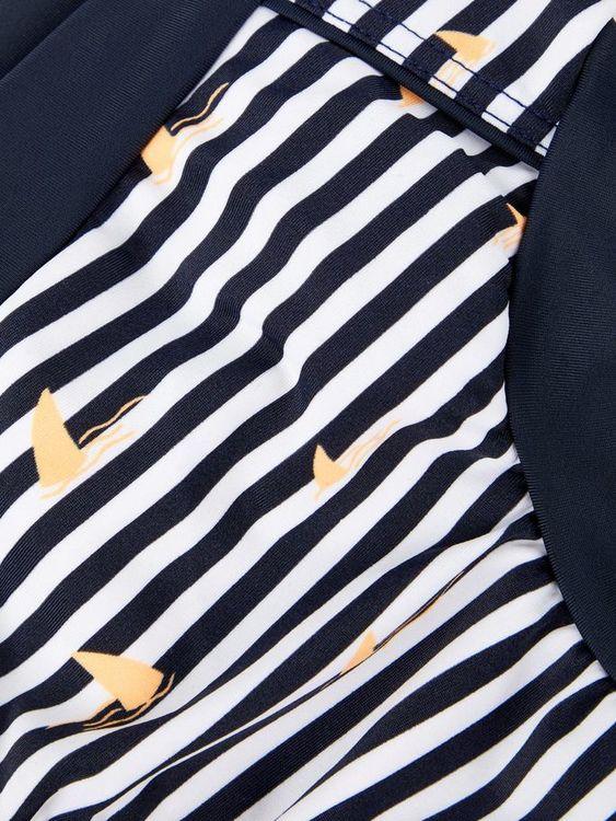Cool randig badblöja med hajstjärtstryck från Name it med resår i midjan och invändig bomullskalsong med gummibeläggning. Material: 80% Polyamid och 20% Elastan  Färg: Marinblå