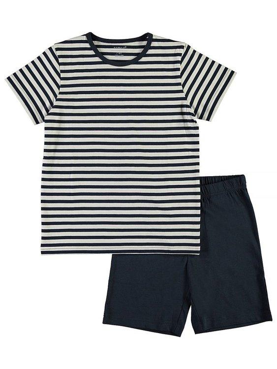 Mjuk och skön 2-delad pyjamas med shorts och t-shirt. Material: 100% Bomull  Färg: Marinblå