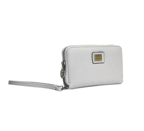 Plånbok i konstläder från Pipol´s Bazaar med avtagbar handledsrem, fack för både mynt, sedlar, kort & telefon. Mått: W 10 x H 15 x D 2 cm   Färg: Grå