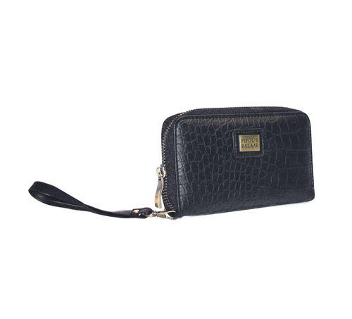 Stilren plånbok i konstläder från Pipol´s Bazaar med avtagbar handledsrem samt fack för både mynt, sedlar och kort. Dekorativ tofs som går att ta av. Storlek: W 17 x H 10 x D 2,5 cm   Färg: Black