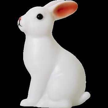 Söt liten kaninlampa från Rice i vit plast med LEDlampor inuti som byter färg. Supersöt & jättepoppis! Fin som nattlampa &ger ett härligt mysigt sken. Mått:12,5 cm x 10 cm