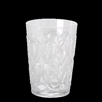 Så fina Tumbler glas från Rice i transparent plast med fint mönster. Perfekt för picknick, husvagnen eller annan utomhus aktivitet Kan maskindiskas i övre delen av diskmaskinen. Mått: H 12 x Diam 9 cm