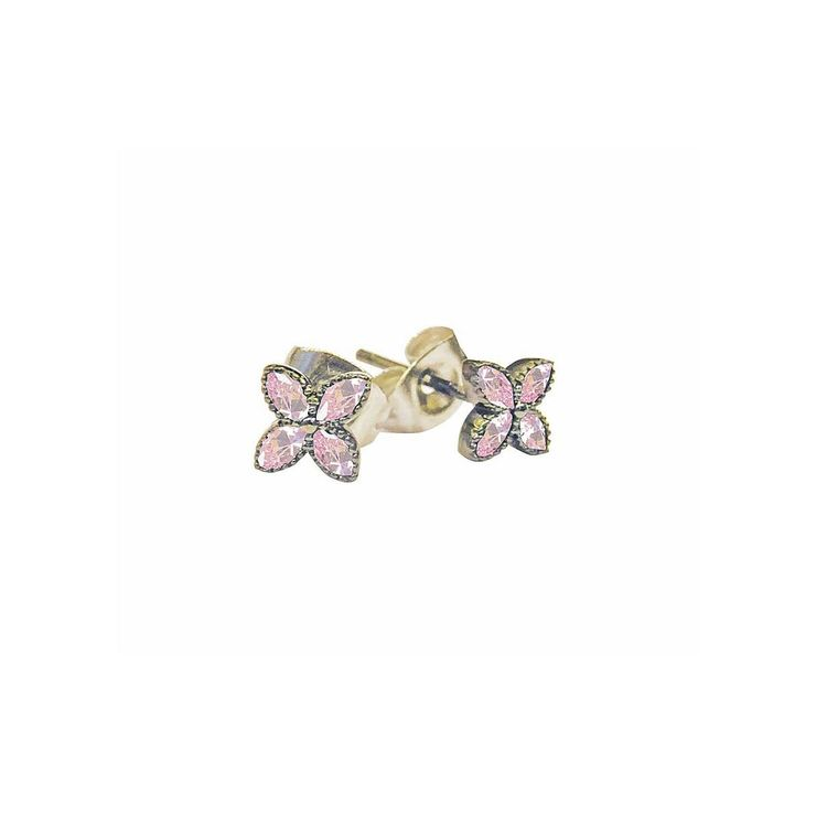Söta, lyxiga och små örhängen med metallbas och lyxiga cubic zircon stenar. Örhängena är nickelfria och passar bra till små flickor. Storlek: 0,5 cm  Färg: Guld med rosa stenar