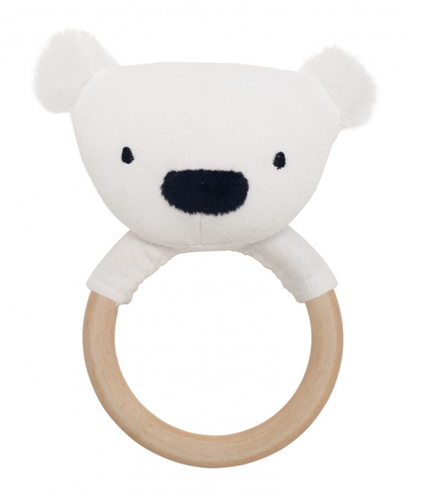 Handskallra från Jabadabado i form av ett gullig isbjörn. Skallran har ett greppvänligt handtag i trä som passar till små barnhänder. Skallran har ett dovt ljud när man skakar den & främjar barnets gr