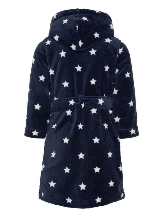 Mjuk stjärnmönstrad badrock från Name it med huva, tryckknappsstängning framtill & knytskärp i midjan samt praktiska fickor. Material: 100% Polyester   Färg: Marinblå