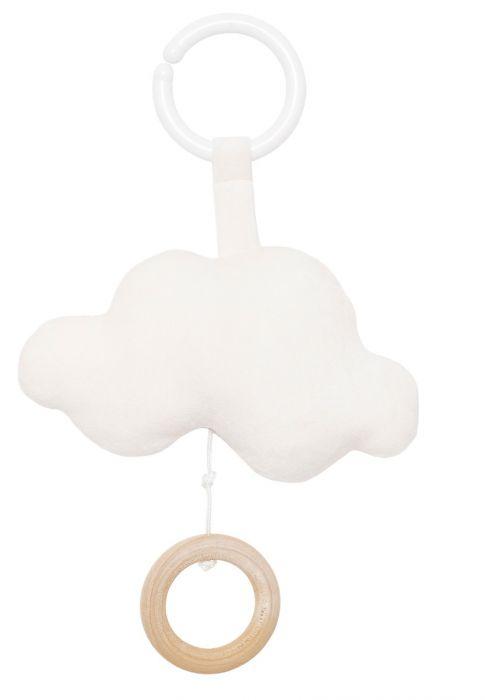 Söt speldosa från Jabadabado i form av en vitt moln att hänga i barnvagnen eller i babysittern. Låt ditt barn få slumra till med en rogivande melodi. Speldosan sätter man lätt fast med hjälp av en til