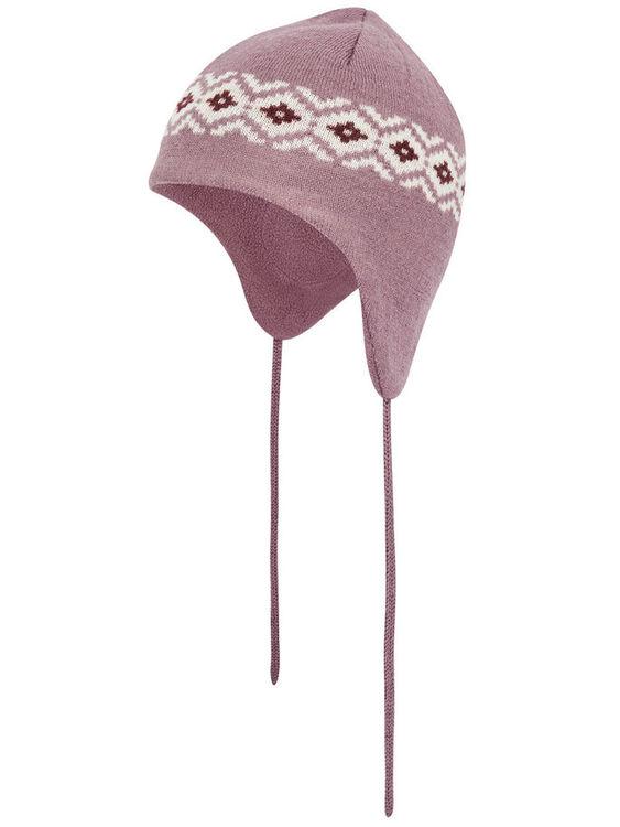 Stickad yllebeaniemössa från Name it med vindtäta öronklaffar mjukt fleecefoder invändigt & dragsko som knyts. Material: 50% Ull & 50% Polyester   Färg: Lila