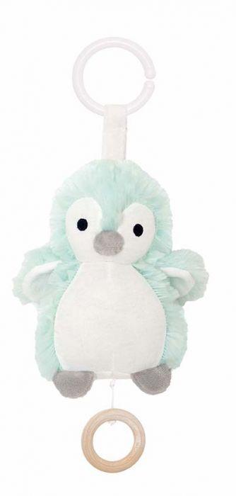 Söt speldosa från Jabadabado i form av en söt pingvin att hänga i barnvagnen eller i babysittern. Låt ditt barn få slumra till med en rogivande melodi. Speldosan sätter man lätt fast med hjälp av en t